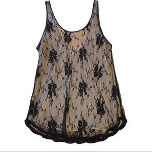 Aritzia Wilfred Black Nude Lace Silk Lined Tank Cami Blouse Top Low back